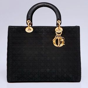 AUTH DIOR CHRISTIAN Nylon Cannage LadyDior Bag L